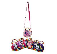 "7.5""x6"" Oval Printed Unicorn Cross Body Purse [Rainbow Edge]"